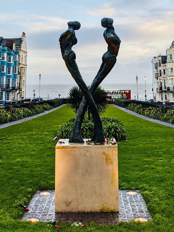 a sculpture by the seafront